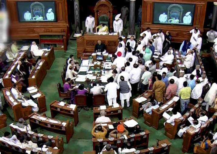 Lok Sabha adjourned for the day amid opposition protests