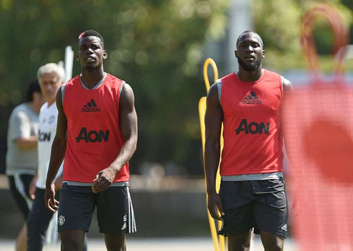 Paul Pogba and Romelu Lukaku in training session.