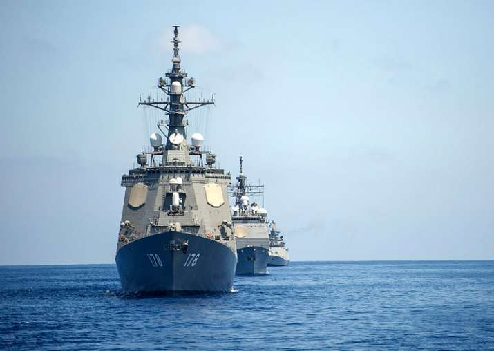 Ships of Indian, Japanese, US Navies sail together during