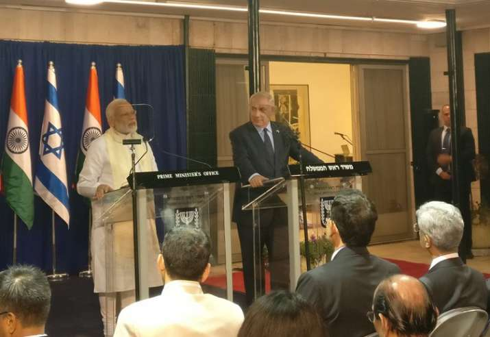 PM Modi and Israeli PM Benjamin Netanyahu during joint
