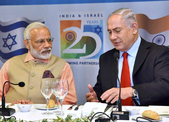 PM Modi and Benjamin Netanyahu at the 1st Israel - India