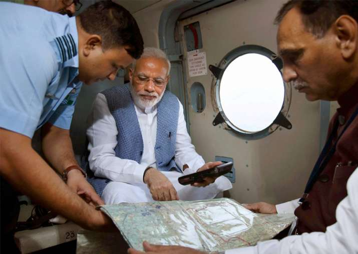 PM undertakes aerial survey of flood-hit areas in Guj