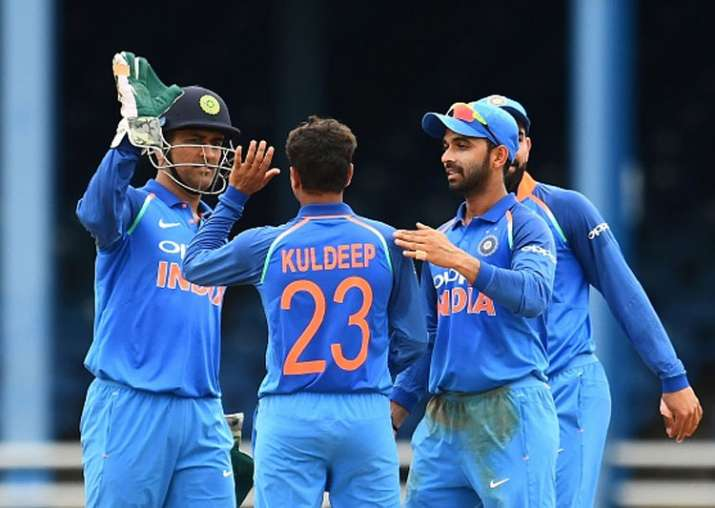 Kuldeep Yadav celebrates one of his dismissals.