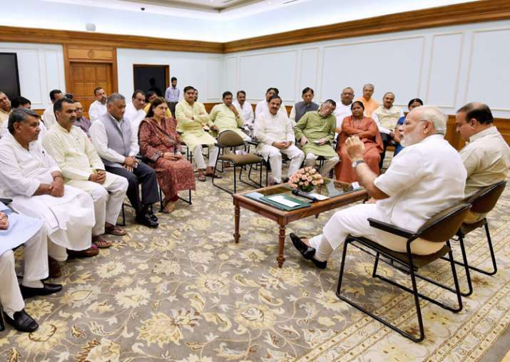 PM Modi along with Ananth Kumar in an informal meeting with