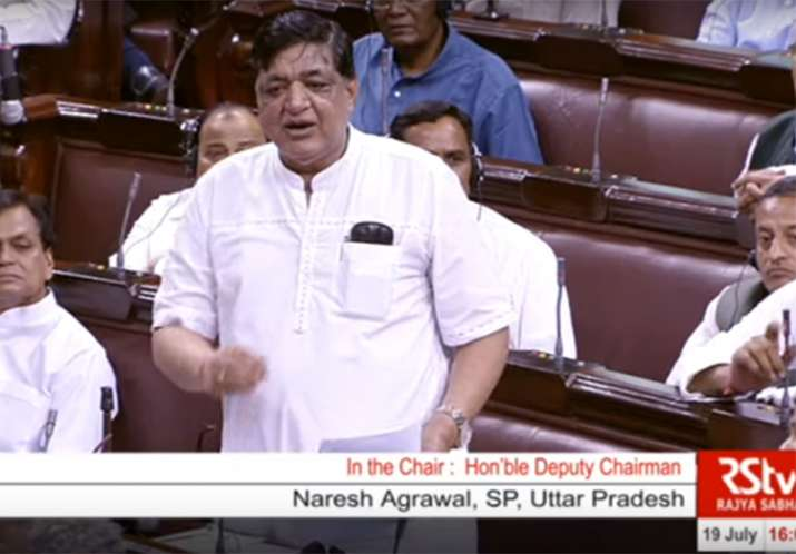 Uproar in Rajya Sabha over SP leader Naresh Agarwal's