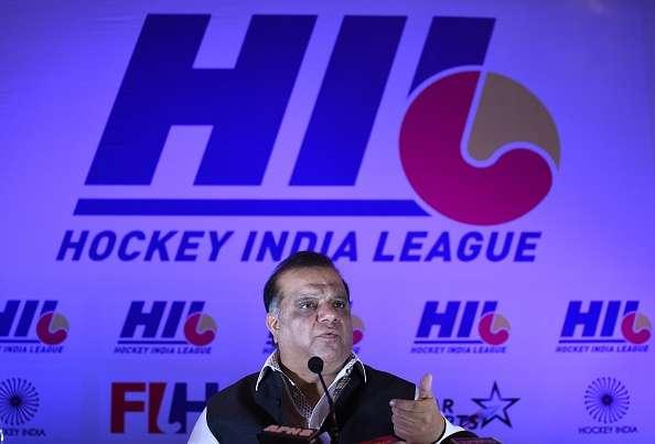 Narinder Batra, Hockey India president addresses a press