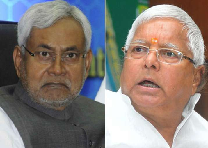 File pic of Nitish Kumar and Lalu Prasad Yadav