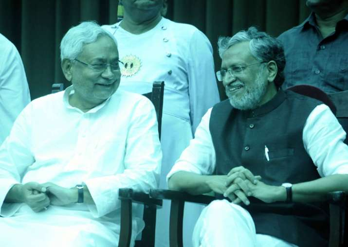 CM Nitish Kumar and Deputy CM SK Modi after taking oath of