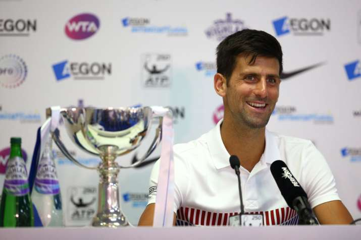 Novak Djokovic of Serbia chats to media after winning the
