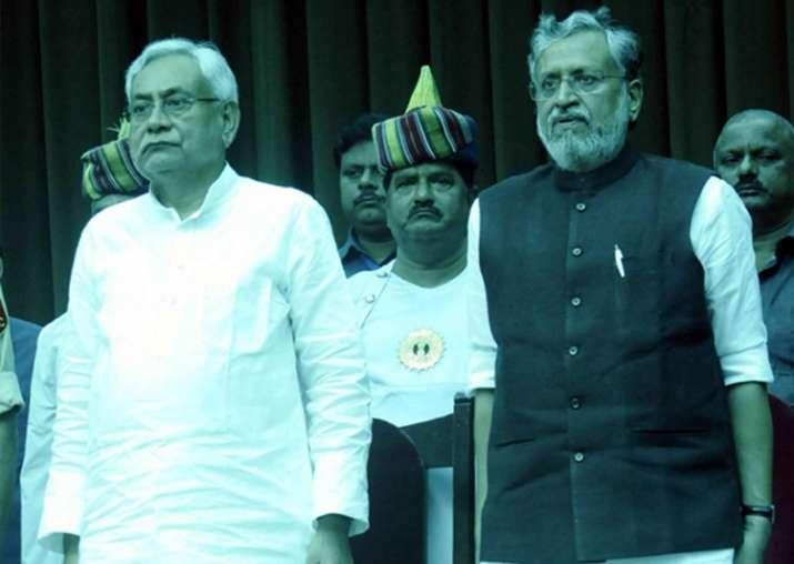 Nitish Kumar and Sushil Modi at Raj Bhavan in Patna