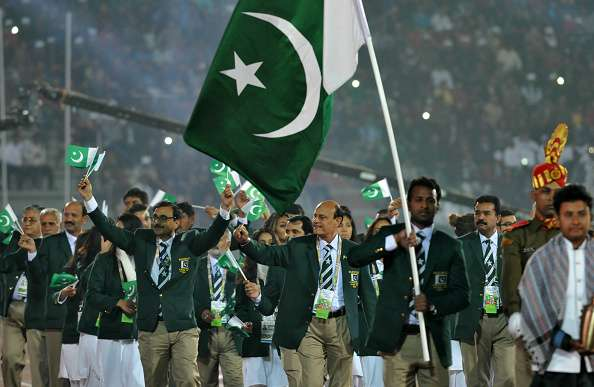 Pakistan athletes march during the opening ceremony of 12th