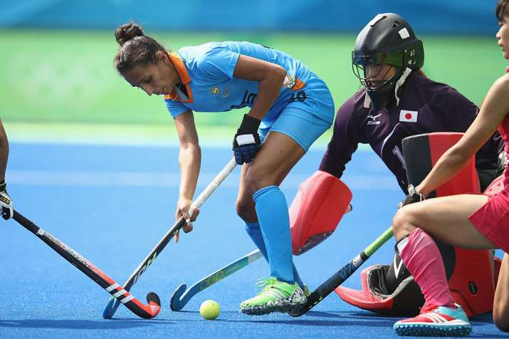 Preeti Dubey of India controls the ball