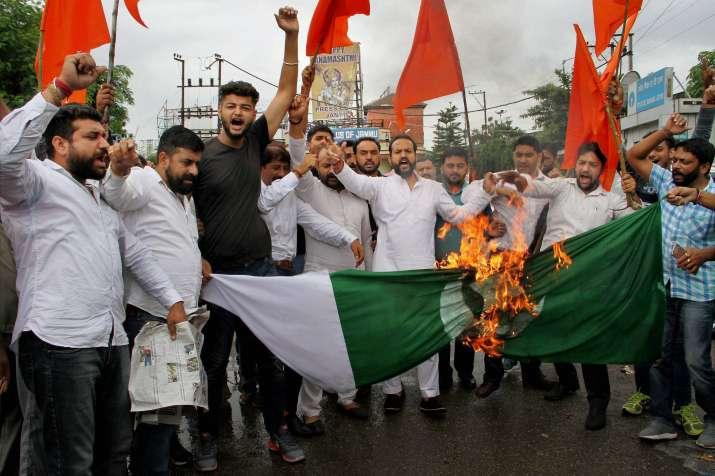 People burning Pak flag following attack on Amarnath Yatris