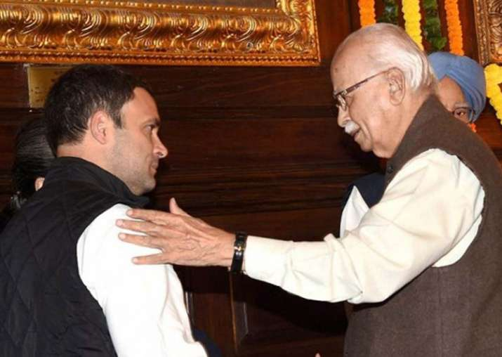 File pic - Rahul, LK Advani talk in Lok Sabha as