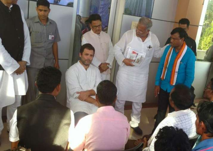 Rahul Gandhi meets party workers during his visit to Bastar