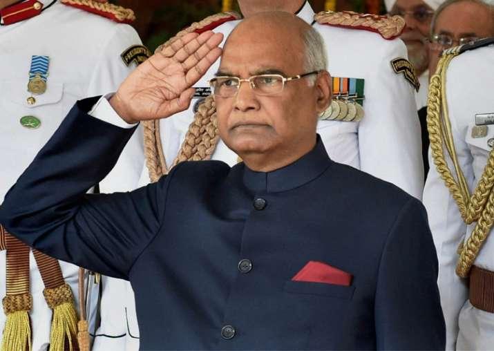 President Ram Nath Kovind taking salute of President's