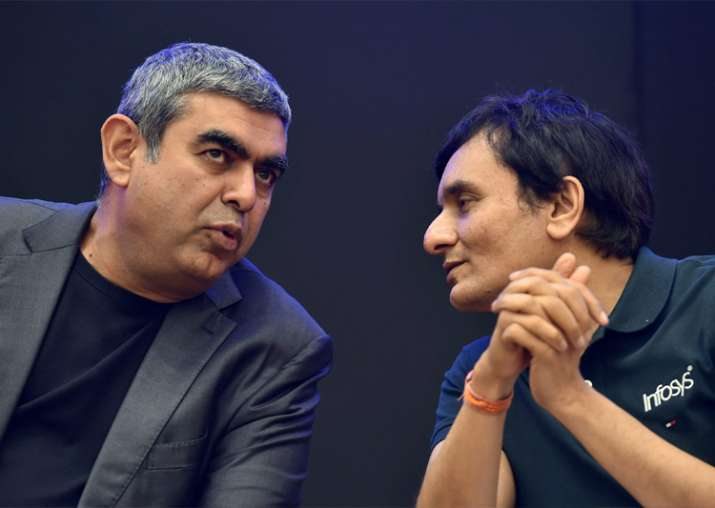 Sikka with CFO MD Ranganath at Infosys headquarters in