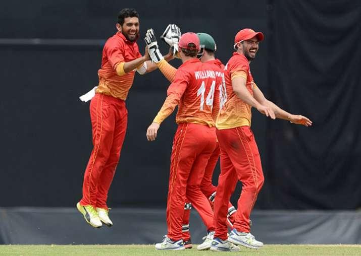 Sikandar Raza celebrates a wicket.