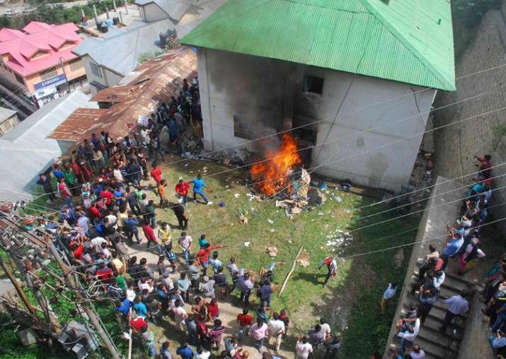 Irate Mob ransack the Police station at Kotkhai near Shimla