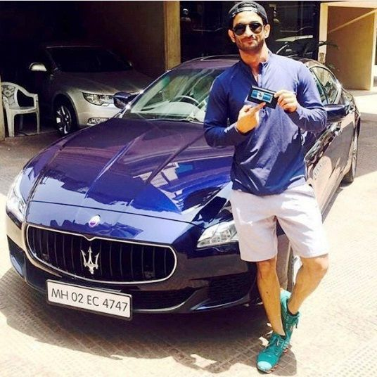 India Tv - Sushant Singh Rajput with hisBlue Colour Maserati Quattroporte