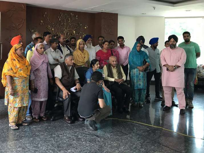 Sushma Swaraj with families of missing Indians