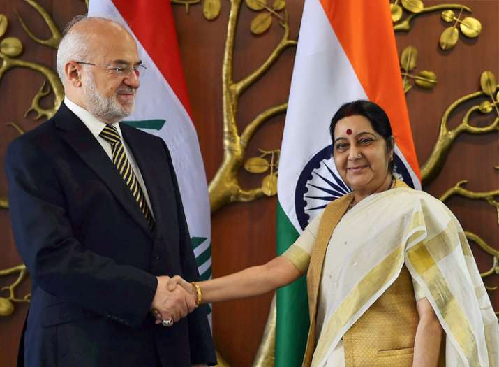 Sushma Swaraj with his Iraqi counterpart Ibrahim al-Jaafari