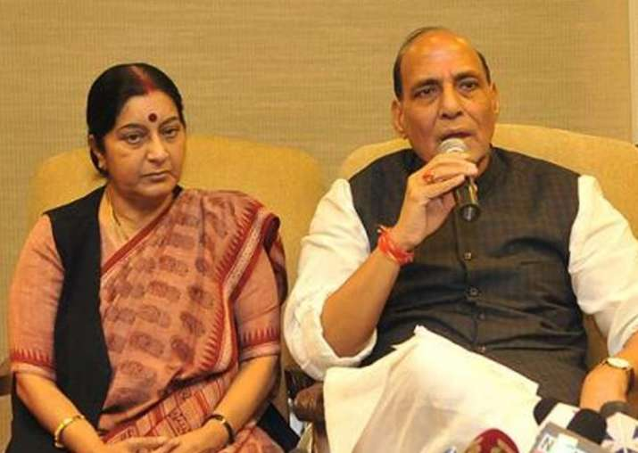 File pic of Sushma Swaraj and Rajnath Singh