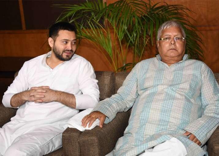 File pic - Tejashwi with his father Lalu Prasad Yadav
