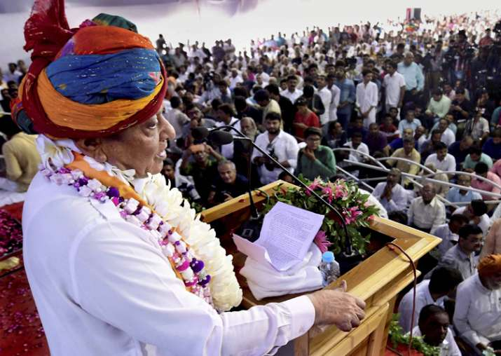 Shankarsinh Vaghela at a public meeting of his supporters