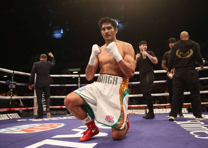 Vijender Singh reacts after winning the fight