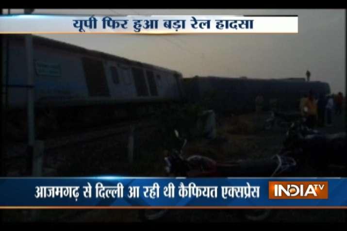 Kaifiyat Express derails in Auraiya district in UP