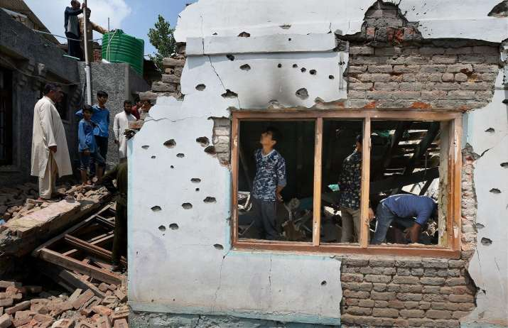House destroyed during encounter between forces and