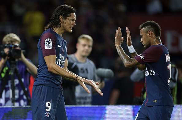 Image Source Getty Images Edinson Cavani Of Psg Celebrates His First Goal With Neymar Jr During The Match