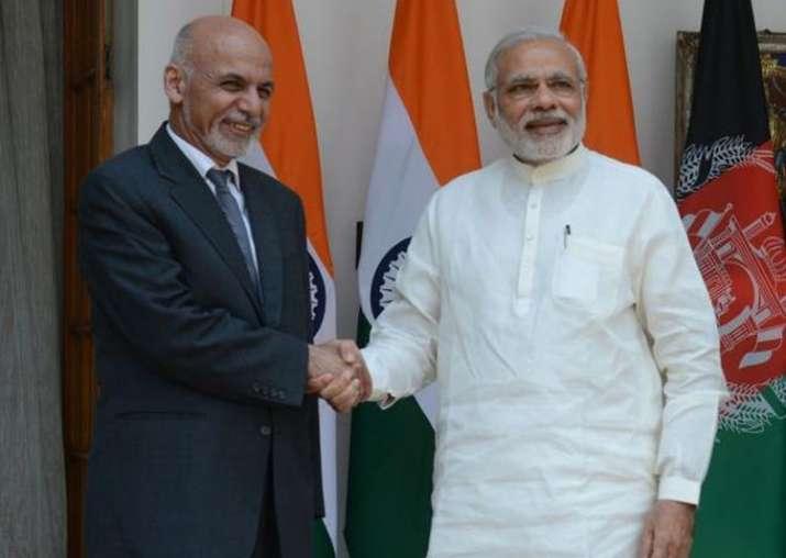 Afghan President Ashraf Ghani with Prime Minister Narendra