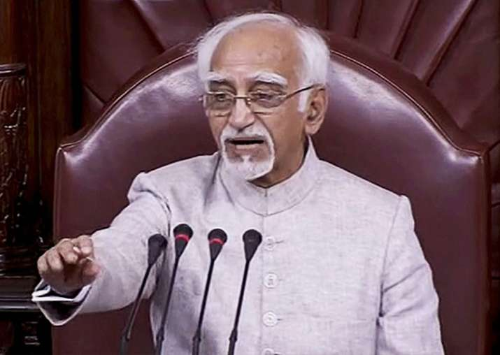Hamid Ansari gestures while chairing his last session in