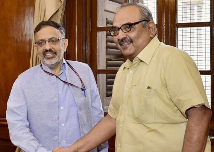 New Home Secy Rajiv Gauba L being welcomed by outgoing Secy