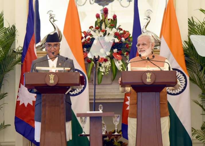 Narendra Modi with Sher Bahadur Deuba at joint media
