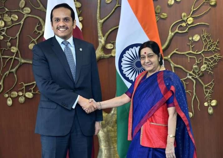 Sushma Swaraj greets Qatar's Foreign Affairs Minister Abdul