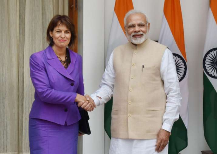 PM Modi and Swiss Prez Doris Leuthard during a meeting at