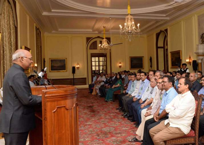 President Kovind meets the officers and staff of