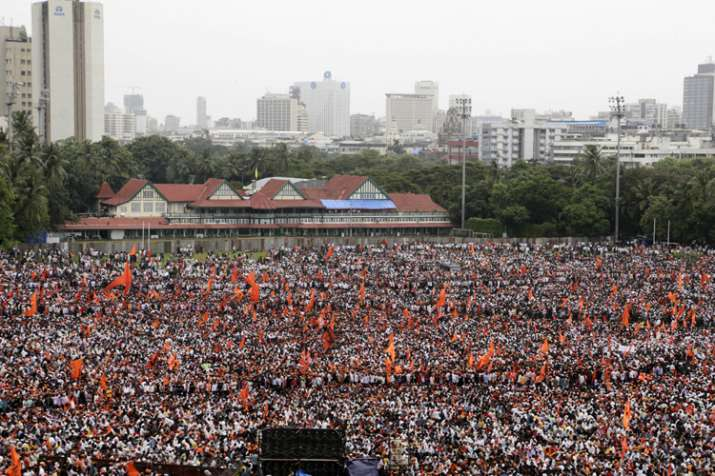 India Tv - Members of Maratha Kranti Morcha during a silent march in Mumbai