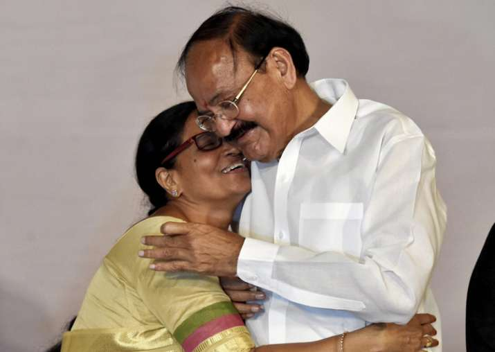 Venkaiah Naidu and his wife Usha after being elected as