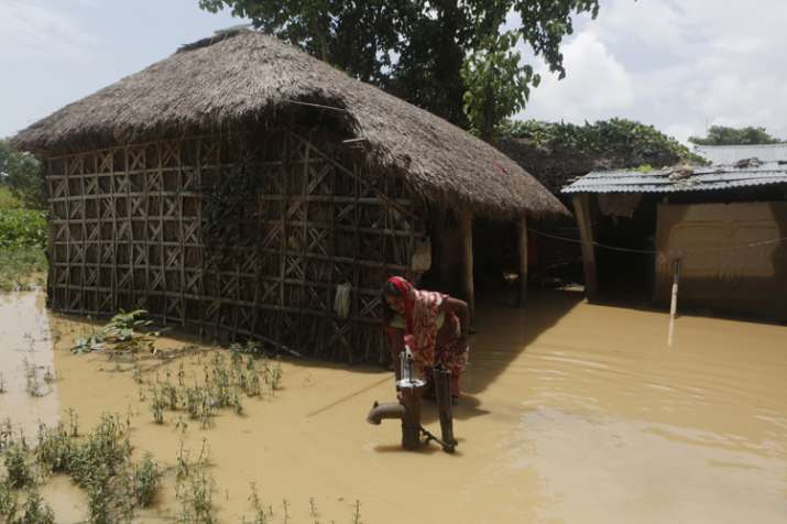 A partially submerged house in Saptari district in Nepal