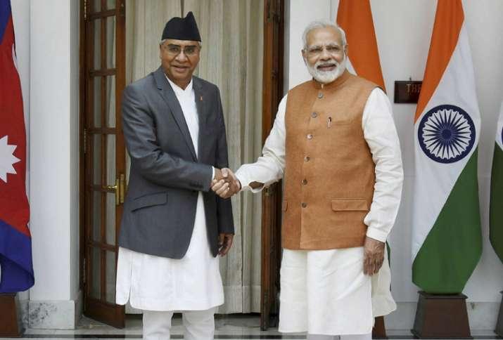 Nepalese PM Sher Bahadur Deuba with PM Narendra Modi