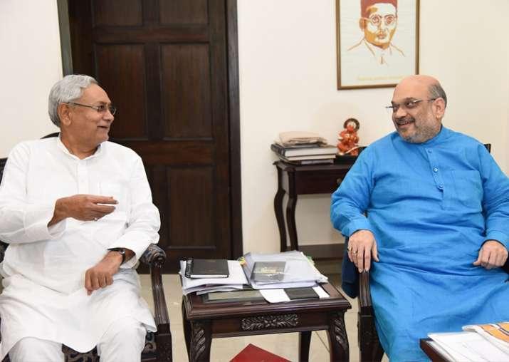File pic - Nitish Kumar meets Amit Shah at latter's