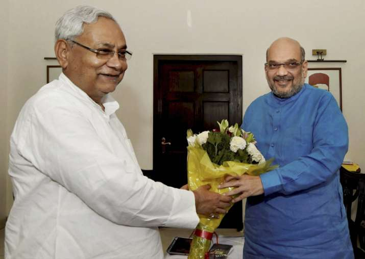 Nitish Kumar greets Amit Shah in a meeting at the latter's