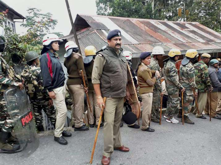 Police personnel during Gorkhaland protests in Darjeeling