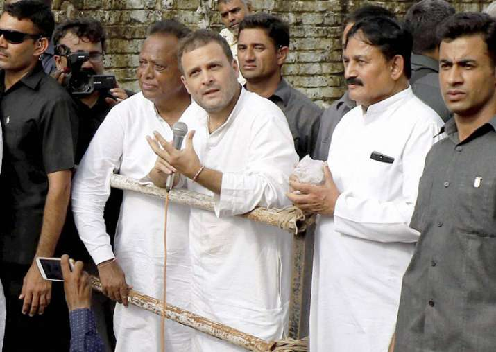File pic - Rahul Gandhi interacts with the flood affected
