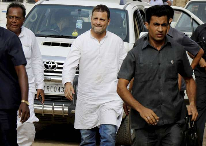 File pic - Rahul Gandhi arrives to visit flood affected