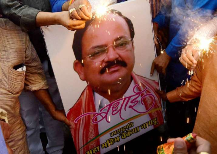 BJP workers celebrate Venkaiah Naidu's victory